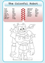 English Worksheet: The Colorful Robot
