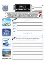 English worksheet: Travel Opinion Writing