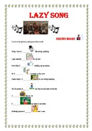 English Worksheet: Lazy Song (Present Simple and Verbs) with answers