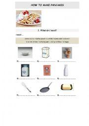 English Worksheet: Food. How to make pancakes
