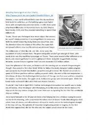 English Worksheet: Wealthy Passengers on the Titanic