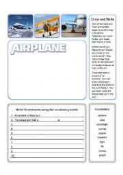 English Worksheet: Airplane Write and Draw