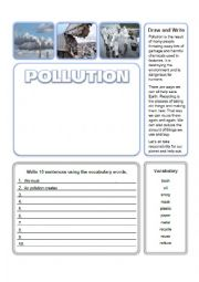 English worksheet: Pollution Write and Draw Activity