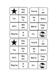 English Worksheet: Dominoes� verb to be and contractions