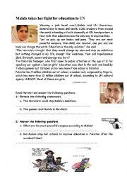 English worksheet: Malala´s_fight_for_education