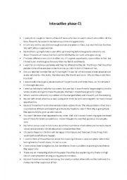 English Worksheet: Interactive phase C1