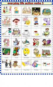 English worksheet: EVERYDAY  LIFE ACTION VERBS 3