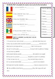 English Worksheet: NATIONALITIES AND LINKERS