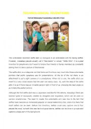 English Worksheet: Technological Inventions - The selfie stick