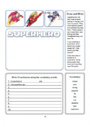 English worksheet: Superhero Write and Draw Activity