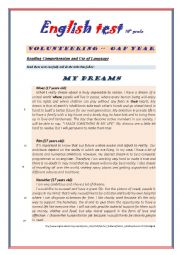 English Worksheet: Test 10th grade 2nd part