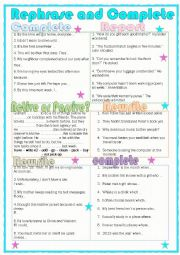 English Worksheet: Grammar Practice