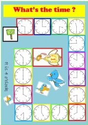 English Worksheet: A TELLING THE TIME BOARD GAME
