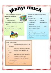 English Worksheet: many/ much