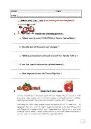 English Worksheet: Special Days Test step 33 - La Tomatina (Spain)