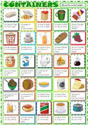 English Worksheet: Containers