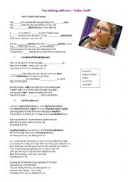 English Worksheet: TAYLOR SWIFT�S SONG