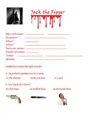 English Worksheet: Jack the Ripper London Dungeon activity worksheet