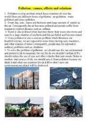 English Worksheet: Pollution:causes ,effects and solutions