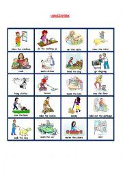 English Worksheet: HOUSEWORK PICTIONARY