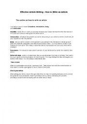 English Worksheet: effective article writing
