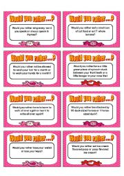 English Worksheet: Would you rather card game - Speaking I