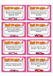 English Worksheet: Would you rather card game - Speaking II