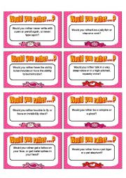 English Worksheet: Would you rather card game - Speaking III