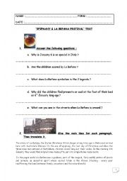 English Worksheet: Special Days Test step 34 : Epiphany and La Befana Festival (Italy)