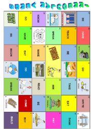 English Worksheet: IRREGULAR VERBS goose game