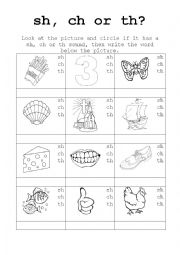picture regarding Th Worksheets Free Printable called Phonics Recap Sh, Ch, Th - ESL worksheet through lesleyannjacobs