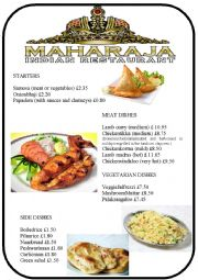 menu 2 - Indian restaurant