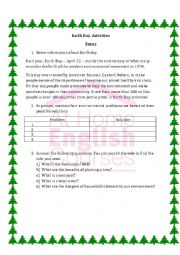 English Worksheet: Earth Day Activities and projects