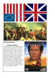 english worksheets the american independence and the patriot movie. Black Bedroom Furniture Sets. Home Design Ideas