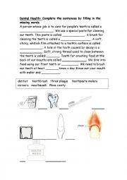 English Worksheet: Dental hygiene