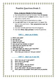 English Worksheet: TRINITY EXAM GRADE 3  INTERVIEW  SPEAKING  - PRESENTATION