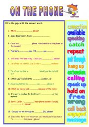 English Worksheet: ON THE PHONE