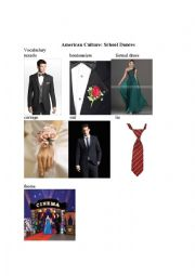 English Worksheet: American Culture: School Dances