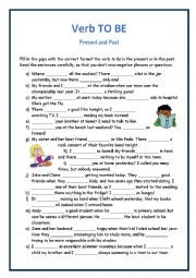 English Worksheet: To Be Present and Past