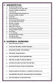 English Worksheet: Various Language Exercise [Question Tag, Eliptical Sentence, Passive Voice]