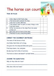 English Worksheet: The horse can count