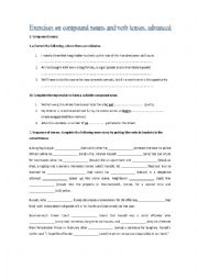 English Worksheet: Compound nouns and sequence of tenses