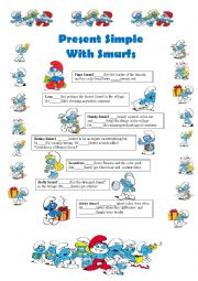 English Worksheet: Present Simple with Smurfs -3rd person singular