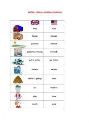 English Worksheet: BRITISH VERSUS AMERICAN ENGLISH2