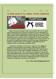 English Worksheet: EU bans sales of all animal-tested cosmetics