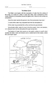 English Worksheet: THe Water Cycle Test