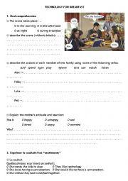 English Worksheet: Technology for breakfast (Modern family)
