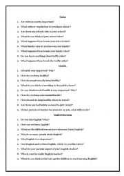 English Worksheet: Questiond to prepare Trinity grade 6 GESE oral exam