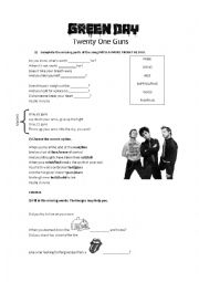 English Worksheet: Green Day - Twenty One Guns