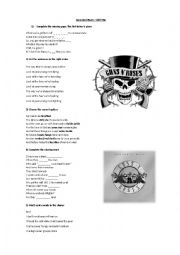 English Worksheet: Guns and Roses - Civil war